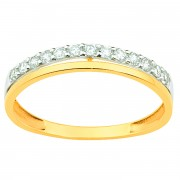 Alliance Brillaxis double rang bicolore or 9 carats