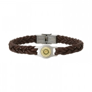 Bracelet homme Elden douille et cuir tressé marron collection Bang Bang